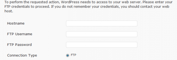 FTP Credentials. Update WordPress without FTP